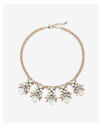 Express - Metallic Xed Stone Pendant Statement Necklace - Lyst
