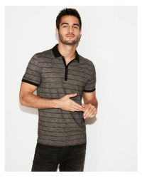Express Black Supersoft Thin Stripe Jersey Polo for men
