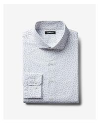 Express - Gray Big & Tall Slim Small Floral Dress Shirt for Men - Lyst