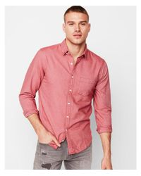 Express Red Big & Tall Slim Solid Soft Wash Oxford Shirt for men