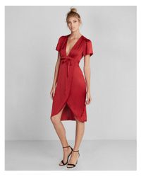 Express Red Plunge Front Silky Wrap Midi Dress