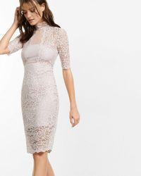Express - Pink Lace Mock Neck Bandeau Sheath Dress - Lyst