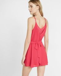 Express - Pink Faux Wrap Chiffon Inset Cami Romper - Lyst