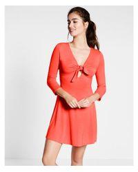 Express - Orange Ex-red Tie Front Knit Fnf:bright Tamale:xxs - Lyst