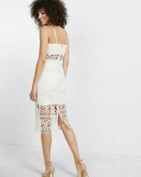 Express - White Crocheted Lace Sheath Dress - Lyst