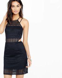 Express Blue Geo Lace Cut-out Sheath Dress