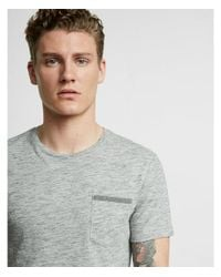 Express - Black Striped Front Pocket Crew Neck Tee for Men - Lyst