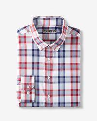 Express Red Slim Fit Plaid Performance Dress Shirt for men