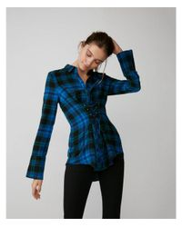 Express - Blue And Green Corset Front Cotton Flannel Shirt - Lyst