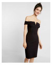 Express Black Notched Off The Shoulder Dress