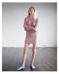 Express - Pink Snap Sleeve Oversized Sweatshirt Dress - Lyst