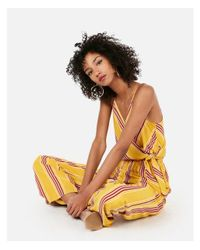 Express Yellow Striped Surplice Tie Front Jumpsuit