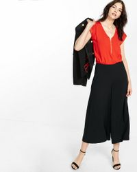 Express | Red Mixed Texture Zip Front Blouse | Lyst