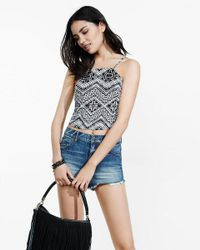 Express | Blue Geo Chevron Print Tie-back Cropped Halter Top | Lyst