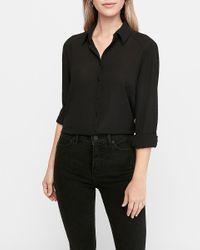 Express Textured Long Sleeve Button-up Shirt Black S