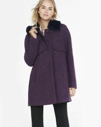 Express | Purple Berry Tweed Coat With Faux Fur Collar | Lyst