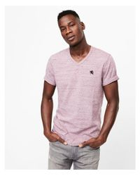 Express Purple Small Lion Eco-friendly Stretch V-neck Tee for men