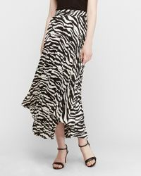 Express High Waisted Pleated Maxi Skirt Black And White
