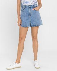 Express Blue Grey Lab A-line Jean Shorts Medium Wash
