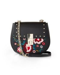 Express - Black Floral Embroidered Cross Body Bag - Lyst