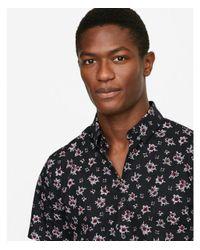 Express Black Ig & Tall Slim Floral Short Sleeve Shirt for men