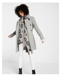 Express Gray Wool Blend Trench Coat