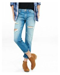 Express Blue Mid Rise Distressed Faded Unrolled Girlfriend Jeans