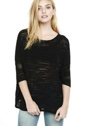 Express - Black Boxy Semi-sheer Slub Knit Pullover - Lyst