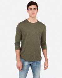Express Green Crew Neck Slub Long Sleeve T-shirt for men