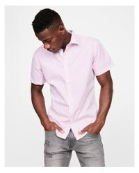 Express - Purple Big & Tall Slim Micro Print Short Sleeve Shirt for Men - Lyst
