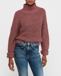 Express Mock Neck Knit Sweater Purple