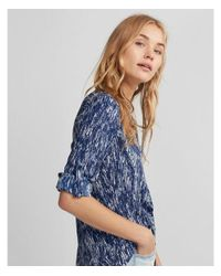 Express Blue Slim Fit Line Print Portofino Shirt
