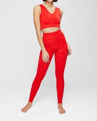 Express Phat Buddha The Gracie High Waisted Leopard Leggings Red Xs/s