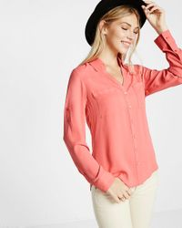 Express Pink Slim Fit Convertible Sleeve Portofino Shirt