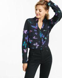 Express Black Original Fit Butterfly Print Portofino Shirt