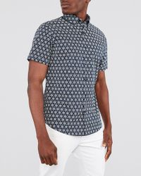 Express Classic Printed Button-down Cotton Shirt Blue S for men