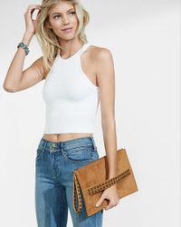 Express Brown Faux Suede Studded Taxi Strap Clutch