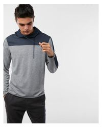 Express Blue Mesh Funnel Hoodie for men
