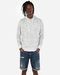 Express Ocean Print Drop Shoulder Hoodie Gray for men