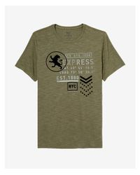 Express - Green 5th Avenue Textured Graphic Tee for Men - Lyst