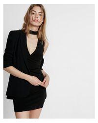 Express Black Choker Neck Surplice Sheath Dress
