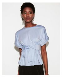 Express Blue Tie Waist Rolled Sleeve Tee