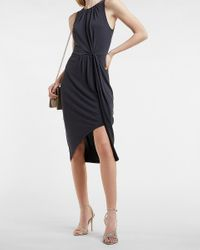 Express Silky Sueded Jersey Gathered Front Midi Dress Pitch Black