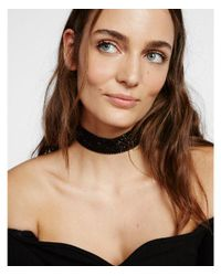 Express - Black Wide Stone Choker Necklace - Lyst
