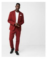 Men's Red Big & Tall Slim Fit Burnt Sienna Washed Suit Trousers