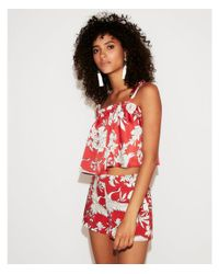 Express Red Floral Bird Ruffle Cropped Cami