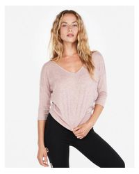 Express - Pink One Eleven Double V Tee - Lyst