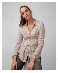 Express - Multicolor Flannel Corset Shirt - Lyst