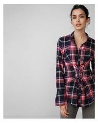 Express Red Corset Front Cotton Flannel Shirt