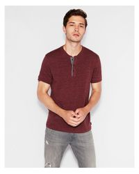 Express - Red Big & Tall Wide Placket Short Sleeve Henley for Men - Lyst